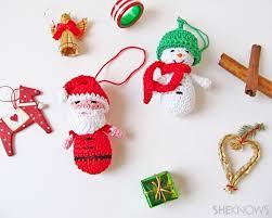 amigurumi santa snowman ornaments