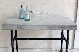 concrete top bar table homemade modern ep40 concrete iron side table