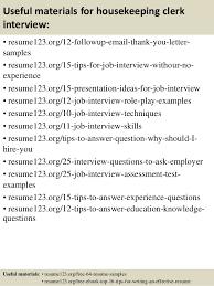 top 8 housekeeping clerk resume samples