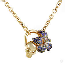 sapphire necklace yellow gold images Jewelry gucci gucci flora 18k yellow gold sapphire pave skull