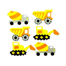 set of 6 construction trucks die cuts paper die cut trucks dump