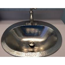 hammered nickel bathroom sink sinkology dalton drop in 20 handcrafted bathroom sink free