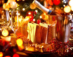 New Year Dinner Decorations by Christmas And New Year Holiday Table Setting With Champagne Stock