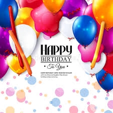 vector birthday card with balloons and confetti stock
