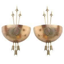 Antique Art Deco Wall Sconces Art Deco Brass Wall Sconces With Star And Arrow Motifs By Levolite