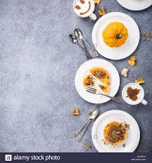 thanksgiving day concept with pumpkin tartlet mini pie on