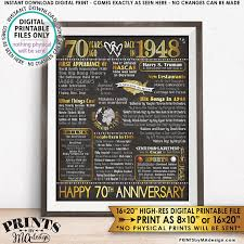 70th anniversary gift 70th anniversary gift married in 1948 anniversary flashback