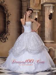 white and silver quinceanera ball gown strapless for new style