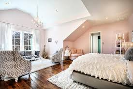 Gray And Pink Bedroom by Pink And Gray Bedroom With Glam Living Space Contemporary