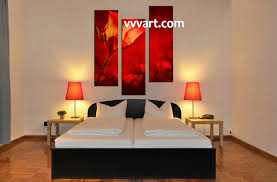 3 piece home decor red rose canvas pictures