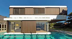 a modern house with a wraparound swimming pool wraparound