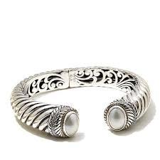 make silver bracelet cuff images Bali designs by robert manse oval mab pearl 2 tone cuff bracelet jpg