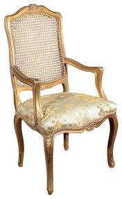 Gold Accent Chair Gold French Style Rattan Back Floral Occasional Accent Arm Chair