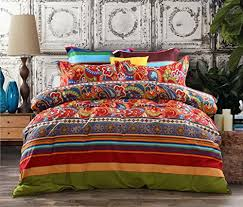 3 piece bohemian ethnic retro multi color bedding sets collections