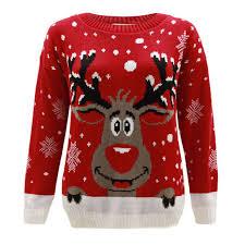 ladies womens knitted reindeer christmas xmas jumper snow flakes