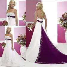 purple and white 2015 a line wedding dresses with strapless