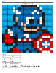 captain america addition coloring squared