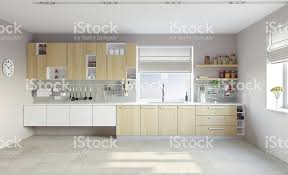 marron cuisine cuisine moderne blanc avec des placards marron clair photos et