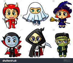 cute chibi halloween characters set stock vector 85720792