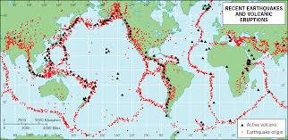 Fault Lines United States Map by Map Of Recent Earthquakes And Volcanic Eruptions Of The World
