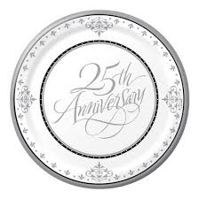 25th anniversary plate 25th anniversary silver plate anniversary party supplies amanda