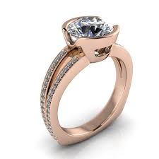bezel set engagement ring half bezel set engagement ring split shank diamond band vidal