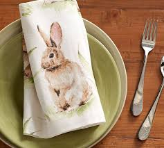 easter napkins pasture bunny napkin set of 4 pottery barn