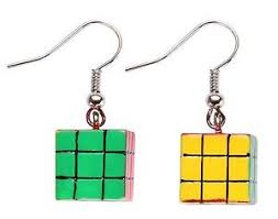 80s earrings funky rubiks cube earrings 80s jewellery statement