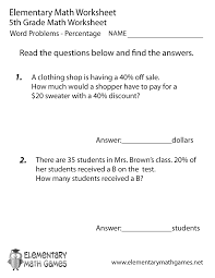 free printable percentage word problems worksheet for fifth grade