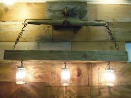 Rustic Bathroom Vanity Light Fixtures - reclaimed wood beam u0026 mason jar chandelier with antique horse yoke