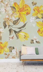 932 best mural images on pinterest murals followers and bar designs then take a closer look at our fabulous retro daffodil pattern wallpaper mural