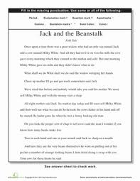 punctuation jack and the beanstalk worksheet education com