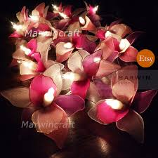 20 white pink purple string lights orchid flower fairy lights