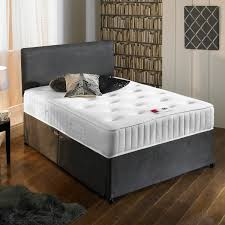new charcoal grey luxury suede divan bed set with orthopaedic