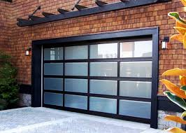 Garage With Living Space Door Minimalist Black Glass Garage With Man Doors For Brick Wall