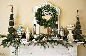 decorations nature green christmas fireplace decor alongside