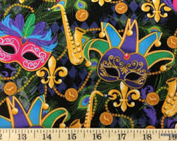 mardi gras material cotton fabric by the yard kids fabric quilting by kbabfabrics