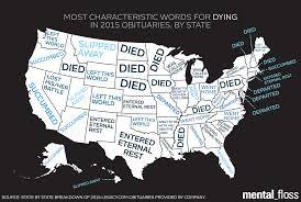 Black Death Map Most Distinctive Obituary Euphemism For U0027died U0027 In Each State