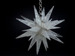 Antique Rock Crystal Chandelier Star Lighting Bronze Fixture And Rock Crystal Stone Light Off