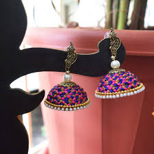 thread earrings made designer knotty silk thread earrings online