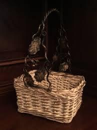 metal grapevine handle wicker basket