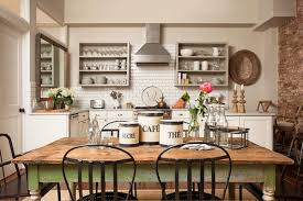 Kitchen With Dining Table Farmhouse Kitchen Decorating Ideas Home Design Ideas