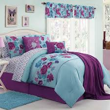 girls butterfly bedding amazon com teen girls floral butterfly purple and light blue twin
