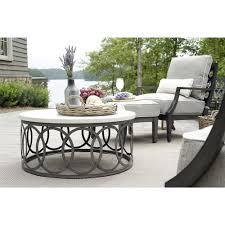 Ivory Coffee Table Summer Classics Ella Oval Interlock Ivory Outdoor Coffee Table