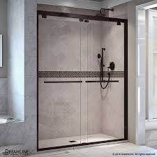 shop shower doors at lowes com dreamline encore 44 in to 48 in w frameless oil rubbed bronze sliding shower