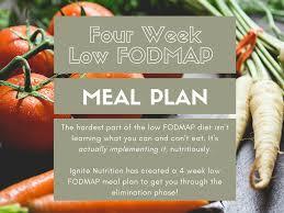 Map Diet Low Fodmap Meal Plan 4 Week Elimination Plan Ignite Nutrition Inc