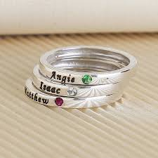 mothers rings stackable engraved engraved rings with birthstone