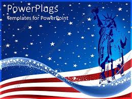 powerpoint template blue colored statue of liberty over the usa
