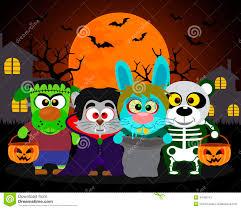 halloween background trick or treat animals stock vector image