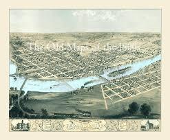 Birds Eye View Maps Cedar Rapids U0026 Kingston Iowa In 1868 Bird U0027s Eye View Aerial